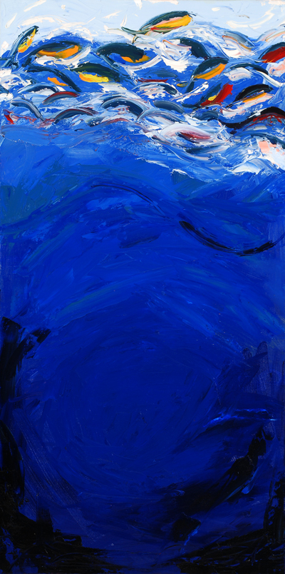 blue ocean painting with fish jumping