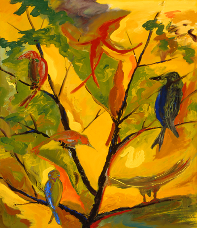 abstract painting of birds in a tree