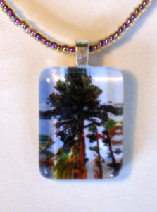 Beaded Necklace with Big Pine Pendant